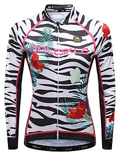 billige Sykkelklær-Malciklo Dame Langermet Sykkeljersey - Hvit / Svart Sykkel Jersey, Fort Tørring, Pustende, Refleksbånd Lycra Sebra / Mikroelastisk / YKK-glidelås / Italia Importert blekk