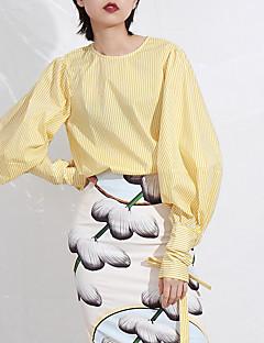 billige Bluse-Dame - Ensfarvet / Geometrisk Bomuld Bluse
