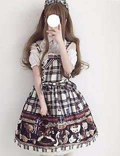 billiga Lolitamode-Skotskrutig Söt Lolita Chiffong Dam jsk / Jumper Kjol Cosplay Vit / Röd Ärmlös Ärmlös Kostymer