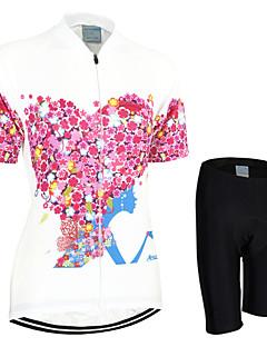 billige Sykkelklær-Arsuxeo Dame Kortermet Sykkeljersey med shorts - Rød Sykkel Shorts / Jersey / Klessett, Pustende, Fort Tørring, Anatomisk design Polyester Blomster / botanikk / Elastisk