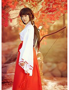 """billige Anime cosplay-Inspirert av InuYasha Kikyo Anime  """"Cosplay-kostymer"""" Cosplay Klær / Japansk Kimono Ensfarget Langermet Topp / Bukser Til Dame Halloween-kostymer"""