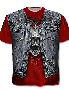 billige Herre Toppe-Herre - Farveblok / Dødningehoveder Bomuld, Trykt mønster Kranium / overdrevet Plusstørrelser T-shirt / Kortærmet