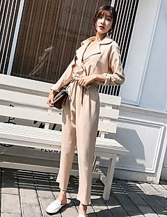 tanie Kombinezony damskie-Damskie Codzienny / Wyjściowe W serek Czarny Khaki Spodnie szerokie nogawki Kombinezon, Solidne kolory M L XL Długi rękaw