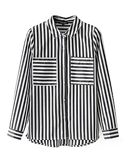 billige Skjorte-Dame - Stribet Patchwork Basale Skjorte