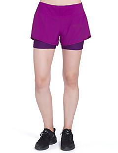 billige Løbetøj-Dame Patchwork / Med indershorts Tætsiddende løbeshorts - Sort, Lilla Sport Farveblok Spandex Shorts Yoga, Fitness, Træning Sportstøj Letvægt, Hurtigtørrende, Åndbart Høj Elasticitet Tynde