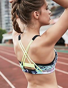 billige Løbetøj-Patchwork / På tværs af ryggen SportsBH'er / BH top Vatteret Medium støtte Til Yoga / Træning & Fitness / Løb - Sort / Gul / Rosa Hurtigtørrende, Svedreducerende Farveblok Nylon, Spandex