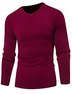 baratos Suéteres & Cardigans Masculinos-Homens Básico / Moda de Rua Pulôver - Sólido
