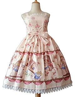billiga Lolitaklänningar-Söt Lolita Rokoko söt stil Chiffong Spets Dam Klänningar Cosplay Blå / Rosa / Bläck blå Ärmlös Ärmlös Midi Kostymer