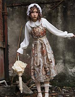 billiga Lolitaklänningar-Klassisk / Traditionell Lolita Vintage Chiffong Dam jsk / Jumper Kjol Cosplay Gul Ärmlös Midi Halloweenkostymer