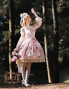 billiga Lolitamode-Söt Lolita Söt Lolita Chiffong Dam Flickor Klänningar Cosplay Gul / Grön / Rosa Flamma Ärm Långärmad Midi Halloweenkostymer