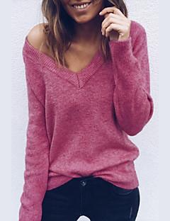 baratos Suéteres de Mulher-Mulheres Para Noite / Final de semana Moda de Rua Sólido Manga Longa Solto Padrão Cashmere, Decote em V Profundo Outono / Inverno Algodão Cinzento / Vinho / Azul Real L / XL / XXL / Sexy