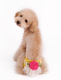 billiga Hundkläder-Hund / Katt Byxor Hundkläder Blomma Gul / Grön / Rosa Cotton Kostym För husdjur Dam Unik design / Blomstil