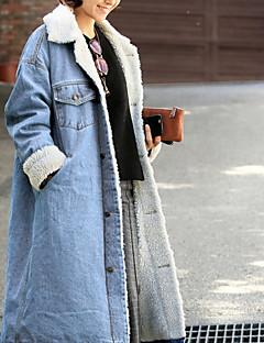 Недорогие Женские блейзеры и куртки-Жен. Джинсовая куртка Однотонный, Хлопок