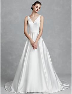billiga Brudklänningar-Prinsessa V-hals Hovsläp Satäng Bröllopsklänningar tillverkade med Skärp / Band av LAN TING BRIDE®