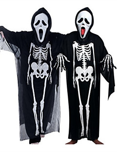 billige Voksenkostymer-Spøkelse Cosplay Kostumer Halloween Utstyr Unisex Barne Voksne Halloween Halloween Maskerade Festival / høytid Halloween-kostymer Drakter Svart Tøffe hodeskaller