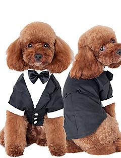 billiga Hundkläder-Katt Hund Smoking Hundkläder Rosett Svart Cotton Kostym För husdjur Herr Gulligt Cosplay Bröllop