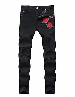 billige Herrebukser og -shorts-menns bomull slim jeans bukser - floral