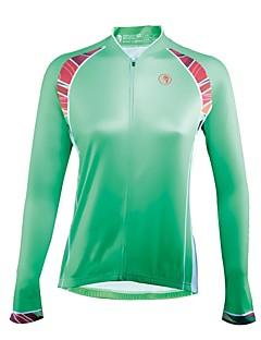 billige Sykkeljerseys-ILPALADINO Dame Langermet Sykkeljersey - Grønn Mote Sykkel Jersey, Ultraviolet Motstandsdyktig 100% Polyester