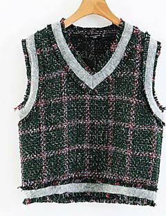 baratos Suéteres de Mulher-Mulheres Básico Colete - Quadriculada