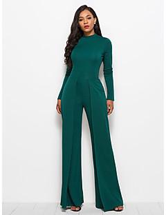 Χαμηλού Κόστους Γυναικεία Παντελόνια & Φούστες-Γυναικεία Μεγάλα Μεγέθη Καθημερινά Κομψό στυλ street Ζιβάγκο Κρασί Πράσινο Χακί Βαθυγάλαζο Πλατύ Πόδι Φόρμες, Μονόχρωμο L XL XXL Μακρυμάνικο Άνοιξη Φθινόπωρο