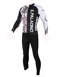 billiga Cykling-ILPALADINO Herr Långärmad Cykeltröja - Svart Mode Cykel Tröja Överdelar, Fleecefoder Håller värmen UV-Resistent, Vinter, Elastan