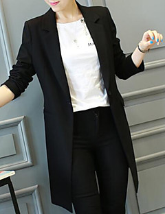 Χαμηλού Κόστους Blazers-μακρύ βαμβακερό μπλούζα των γυναικών - συμπαγές έγχρωμο πουκάμισο πουκάμισου