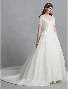 billiga A-linjeformade brudklänningar-Balklänning Scoop Neck Kapellsläp Spets / Tyll Bröllopsklänningar tillverkade med Applikationsbroderi / Spets av LAN TING BRIDE®