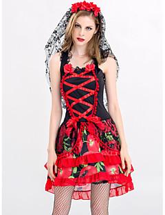 billige Halloweenkostymer-Vampyrer Kjoler Maskerade Dame Voksne Kjoler Halloween Halloween Maskerade Festival / høytid Halloween-kostymer Drakter Rød Sexy Printer