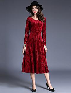 billige AW 18 Trends-Dame Elegant A-linje / Swing Kjole - Ensfarget Maksi