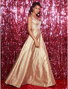 billiga Aftonklänningar-A-linje Y-hals Golvlång Paljetter Formell kväll Klänning med Veckad av TS Couture®