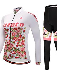 billige Sett med sykkeltrøyer og shorts/bukser-Miloto Sykkeljersey med tights / Sykkeljakke med bukser - Blå / Hvit Sykkel Hold Varm