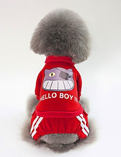 billiga Hundkläder-Hund Tröja Hundkläder Enkel / Brittisk Mörkblå / Röd / Rosa Cotton Kostym För husdjur Unisex Söt Stil / Uppvärmning