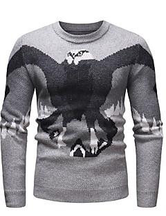 baratos Suéteres & Cardigans Masculinos-Homens Básico Pulôver - Estampa Colorida / Animal, Estampado