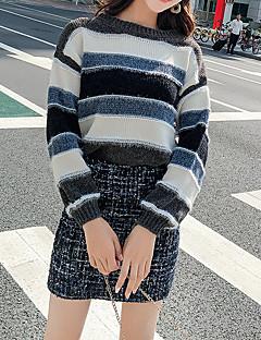 baratos Suéteres de Mulher-pulôver de manga longa saindo de mulheres - listrado em volta do pescoço