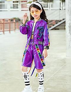 tanie Dziecięca odzież do tańca-Jazz Stroje Dla dziewczynek Spektakl Spandeks Marszcząca się Długi rękaw Natutalne Top / Spodnie