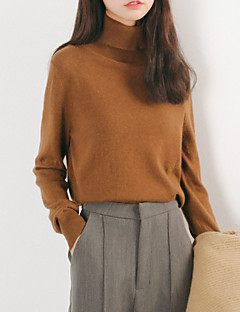baratos Suéteres de Mulher-saia de manga comprida feminina de manga curta - gola alta de cor sólida