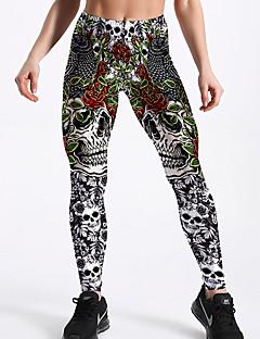 baratos Leggings para Mulheres-Mulheres Básico Legging - Geométrica / Estampa Colorida Cintura Alta