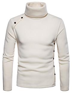 baratos Abrigos e Moletons Masculinos-camisola de manga comprida masculina - gola alta de cor sólida