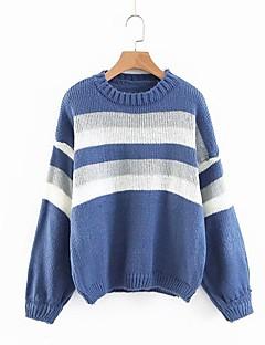 tanie Swetry damskie-Luźny pulower damski z długimi rękawami, w paski
