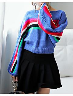 baratos Suéteres de Mulher-Mulheres Básico Pulôver - Sólido / Estampa Colorida