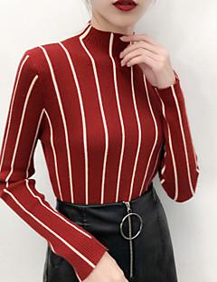 baratos Suéteres de Mulher-Mulheres Básico Pulôver - Listrado