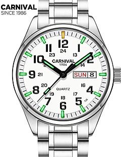billige Høj kvalitet-Carnival Herre Armbåndsur Quartz 30 m Vandafvisende Afslappet Ur Rustfrit stål Bånd Analog Vedhæng Mode Hvid - Hvid Hvid+Blå