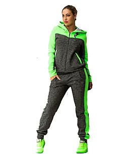 billiga Träning-, jogging- och yogakläder-Dam Skorstenskrage Elastiskt midjeband Träningsoverall - Grön, Rosa sporter Färgblock Huvtröja / Byxa Fitness, Gym, Träna Långärmad Sportkläder Andningsfunktion, Snabb tork Microelastisk Normal