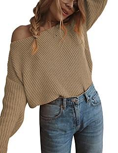 baratos Suéteres de Mulher-saia de manga longa solta feminina - sólido colorido fora do ombro