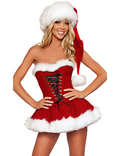 Mrs.Claus Costume Santa Clothes Women s Christmas Festival   Holiday  Polyster Red Carnival Costumes Solid Colored Holiday Christmas d426d995cb31