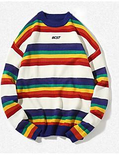 baratos Suéteres & Cardigans Masculinos-pullover de algodão de manga longa masculina - listrado