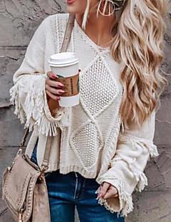 povoljno Ženski džemperi-Žene Dnevno Osnovni Rese Jednobojni Dugih rukava Širok kroj Regularna Pullover, Okrugli izrez Zima Crn / Bež M / L / XL