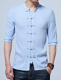 رخيصةأون الكنزات الرجالية-رجالي قطن / كتان قميص قياس كبير النمط الصيني لون سادة / الربيع / الخريف / رقبة طوقية مرتفعة