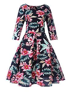 billige Vintage-dronning-Dame Vintage A-linje Kjole - Blomstret Knælang
