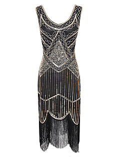 cheap Historical & Vintage Costumes-Tassel 1920s The Great Gatsby Costume Women's Flapper Dress Red+Black / Golden+Black / Burgundy Vintage Cosplay Sequin Party Prom Sleeveless Knee Length
